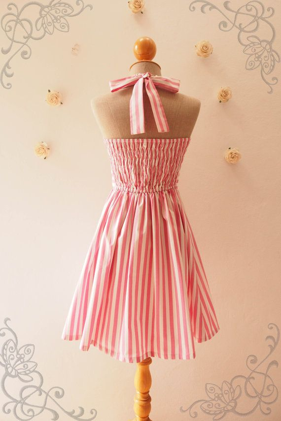 Retro Summer Dress Pink Stripe Dress Pink Bridesmaid by Amordress