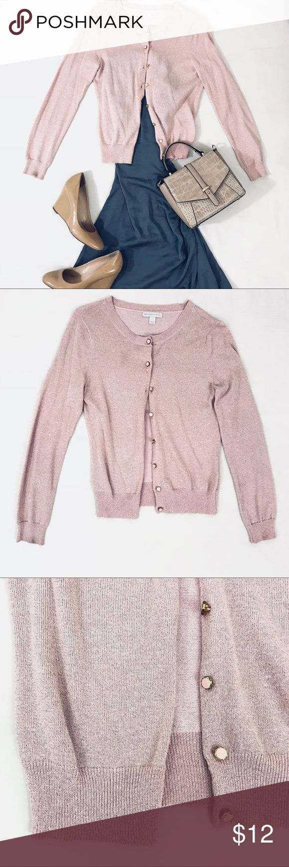 Blush Pink New York & Company Metallic Cardigan Chic cardigan with metallic tones in blush pink In excellent condition; no holes, tears, or pilling  Front button closure New York & Company Sweaters Cardigans