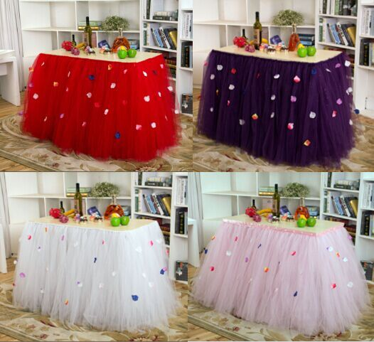 ==> [Free Shipping] Buy Best Handmade Solid rose petal Table Skirt for Wedding Birthday Party Decoration faldas de mesa Online with LOWEST Price | 32645854252