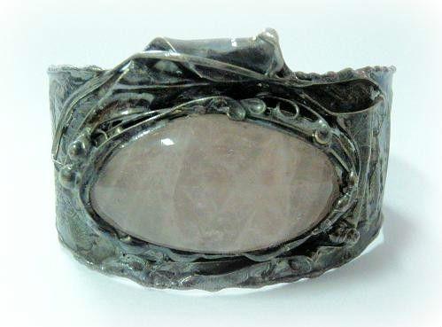 http://megasilver.pl/Bransoleta-p124 #Bracelet #metalwork #handmade #pink  #quartz #stone #jewelry #jewellery