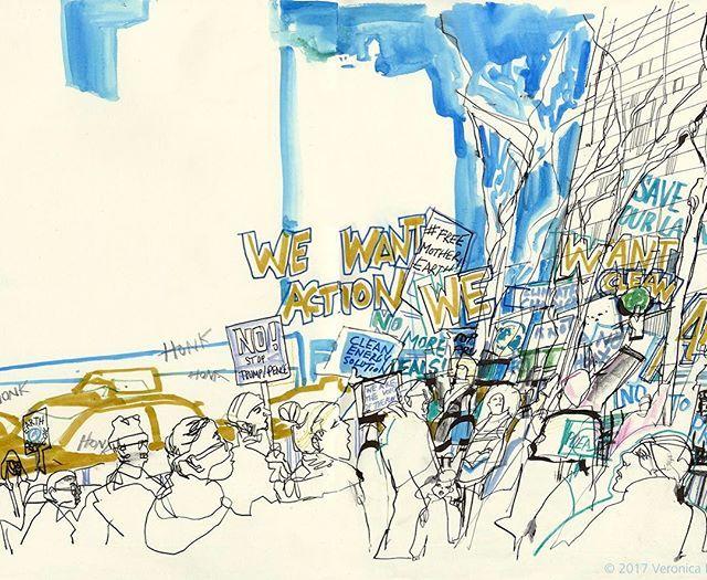 Environmental protest in front of Senator Charles Schumer's office in midtown #nyc today: We Want Clean Air! #environmentalism #reportageillustration  #citizenjournalist #veronicalawlorillustration #foodandwaterwatch #usk #manhattan #protest  #senatorschumer