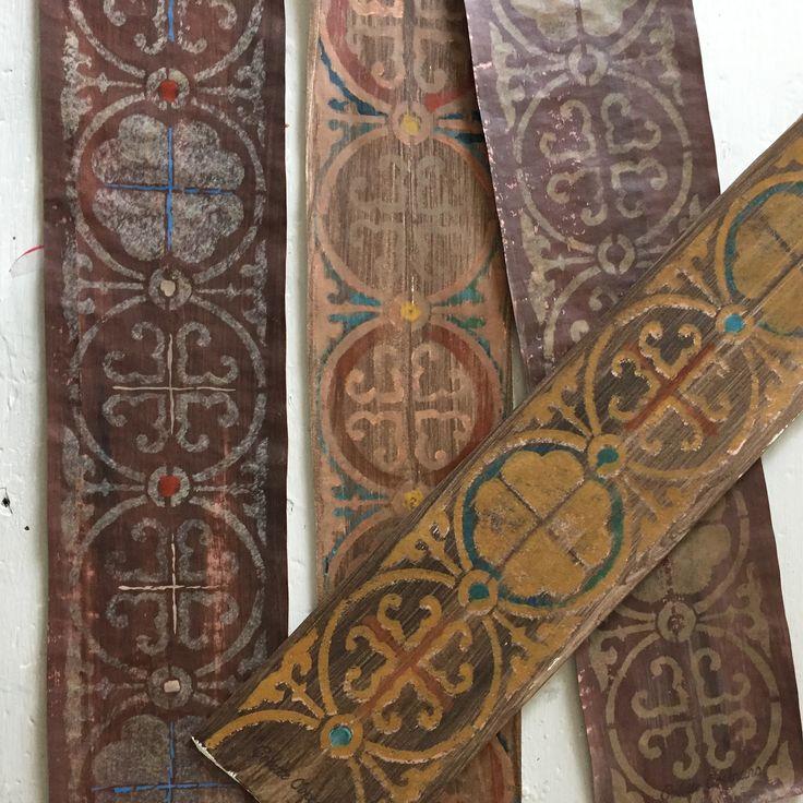 Decorative stencil samples for a hilltop hacienda beamed ceiling in Santa Ynez, California. Colette Cosentino, artist