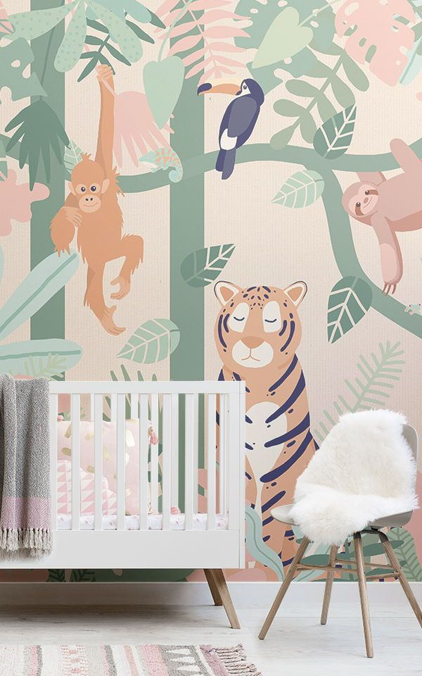 kids jungle animal friends wallpaper mural rh pinterest com