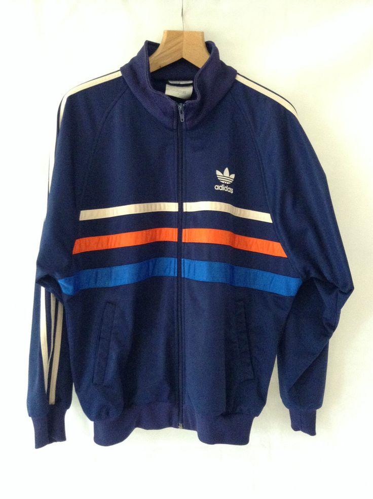 Adidas Vintage 80s Mens Oversized Zipper Tracksuit Jacket