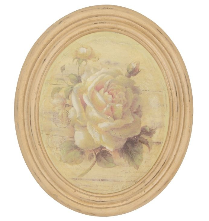 Cuadro ovalado con rosa, ideal para dormitorio Medidas: 27 * 32 * 6 cm