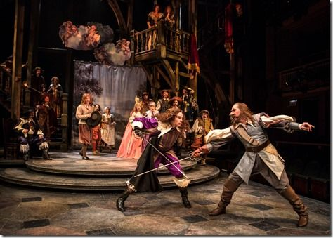 """Ryan Borque and Harry Groener star as Valvert and Cyrano in Chicago Shakespeare Theater's """"Cyrano de Bergerac,"""" adapted by Anthony Burgess, ..."""
