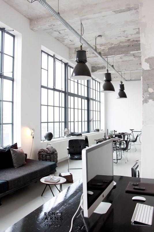 Factory windows for an office space #officedecor #officedesign #interiordesign