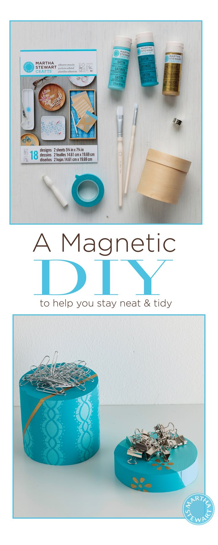 Turn your office decor up a notch with this nifty DIY magnetic paperclip holder that features fun stencils and a chic color palette.