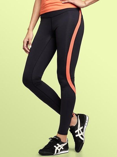 {Flattering Pants}  GapFit's gFast Colorblock Pants ($55) stretch while you move and also keep you warm. And the strategic paneling and colorblock pattern make these leggings a flattering fit.