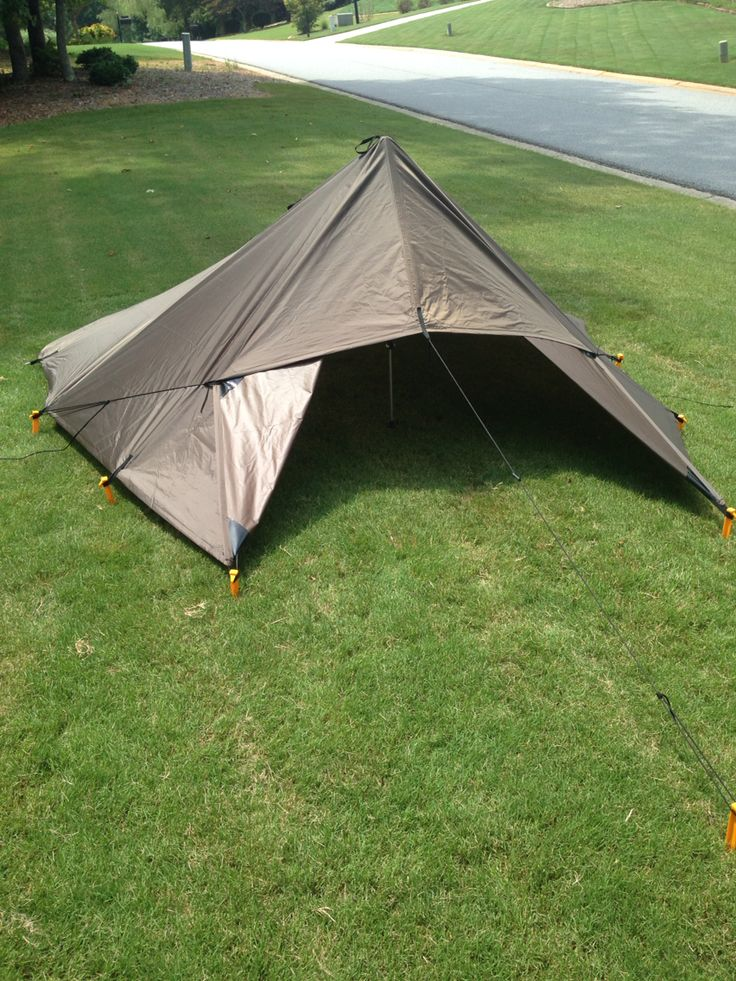 Tent style shelter made with a DD Hammock 3x3 tarp. Check them out! #ultralight #backpacking