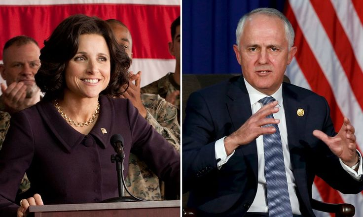 Writer of US political satire points out similarity with 'continuity with change' slogan used by president in Veep, chosen as 'the most meaningless election slogan we could think of'