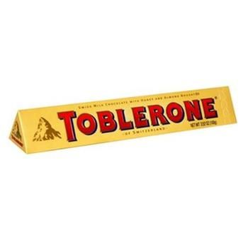 Toblerone Chocolate Bar Swiss Milk Chocolate Honey and Almond Nougat 3.52 oz Case of 20