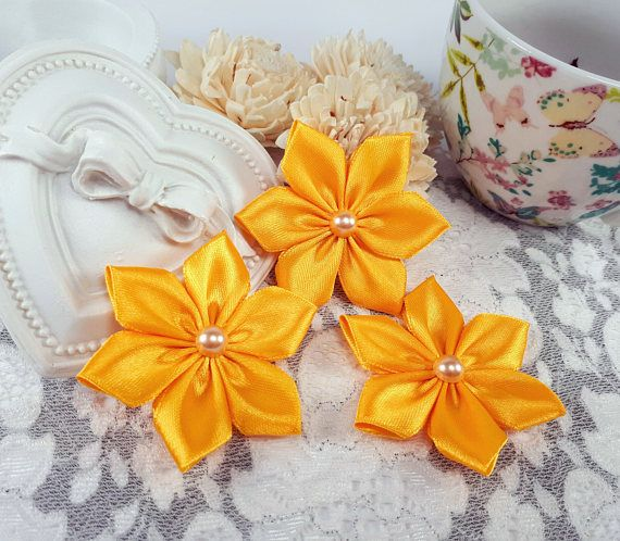 Yellow ribbon flowers satin ribbon flowers yellow applique by Rocreanique