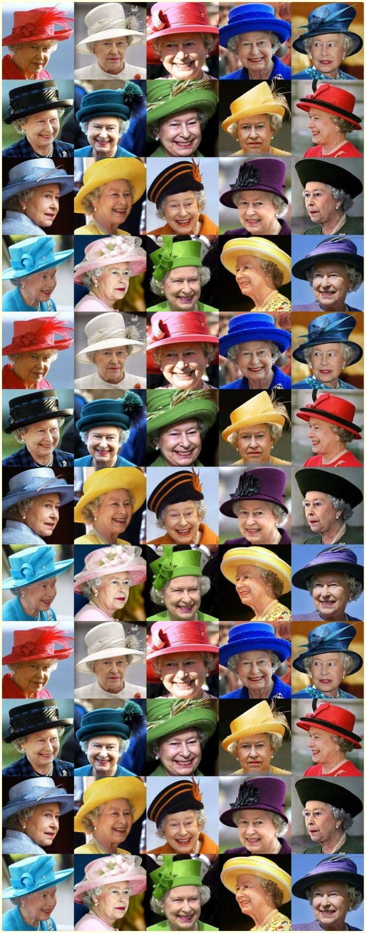 Hats worn by the Queen!   Some of these are repeated 3 times. (the same exact pic....I am sure she never wears the same hat twice) but I wanted to see for in them.