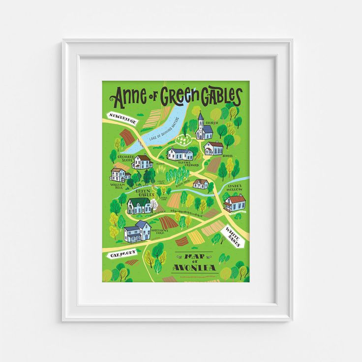 We love illustrated maps so we decided to draw this one of Avonlea, the lovely village where Anne found a home and a new family. Lucy Maud