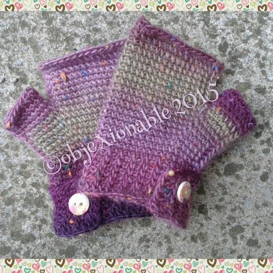 Fingerless crochet gloves, mittens with button fastening. Good for colder days, festivals and camping.