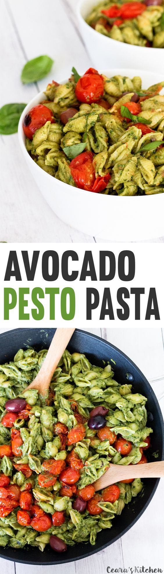 CREAMY Avocado Pesto Pasta with Burst Cherry Tomatoes. This #oilfree avocado…
