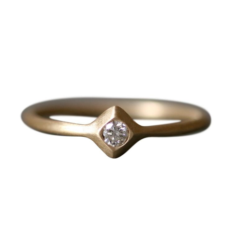 Visible Interest - Small Pyramid Solitaire Ring in 14K Gold with Diamond, $325.00 (http://www.visibleinterest.com/shop-by-category/whats-new/small-pyramid-solitaire-ring-in-14k-gold-with-diamond/michelle-chang)