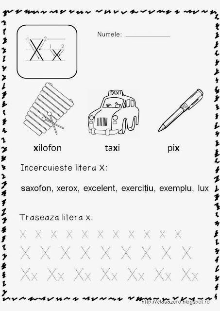 Clasa pregatitoare: Fisa de lucru sunetul si litera X