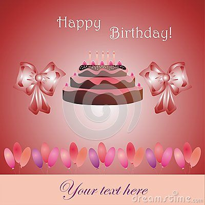 Birthday card with cake, bow and balloons (vector illustration)