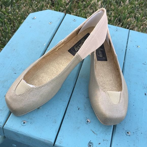 Beautiful Gold Ballet Shoes Beautiful square tip ballet shoes. These ballet shoes will only fit narrow feet. Use with leggings & over sized sweater. Please specify which size you would like. Easy Shoes