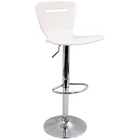 A Sleek White Bent Wood Seat Sits Atop A Chrome Base In This Modern Armless  Adjustable