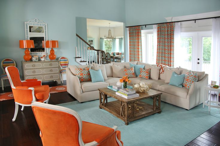 17 best ideas about orange living rooms on pinterest burnt orange decor burnt orange and - Blue and orange living room ...