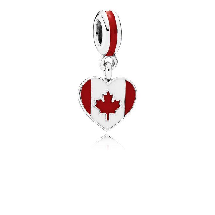 Canada Heart Flag, Red & White Enamel - 791954ENMX - Charms | PANDORA