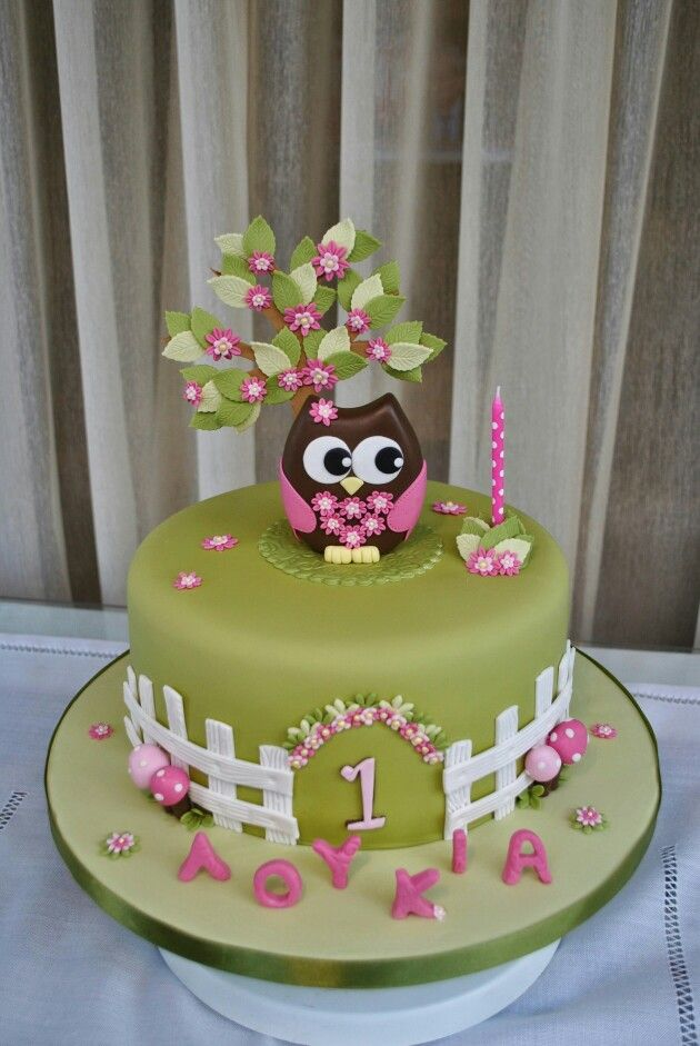First birthday owl cake