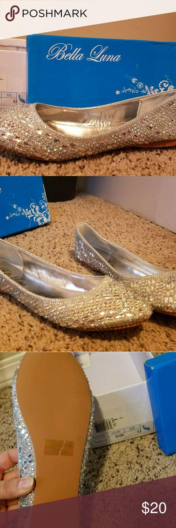 Bella Luna Flats Necer worn Bella Luna silver jeweled flats Bella Luna  Shoes Flats & Loafers
