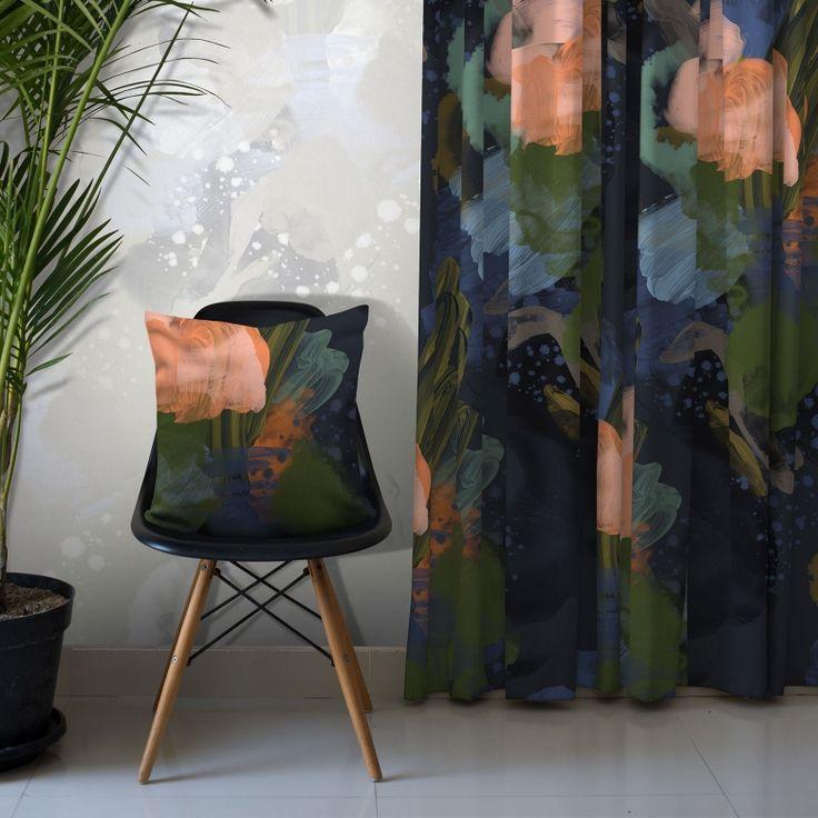 English Rose Cotton Fabric (Midnight) on Feathr.com