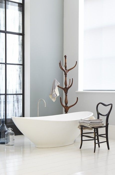 grey bathroom by little greene, wall painted in grey teal