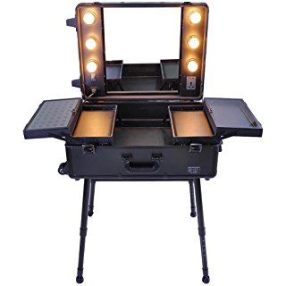 ReaseJoy Pro Trolley Cosmetic Train Case with Light/Support/Mirror Rolling Makeup Box Case Portable Organizer Box