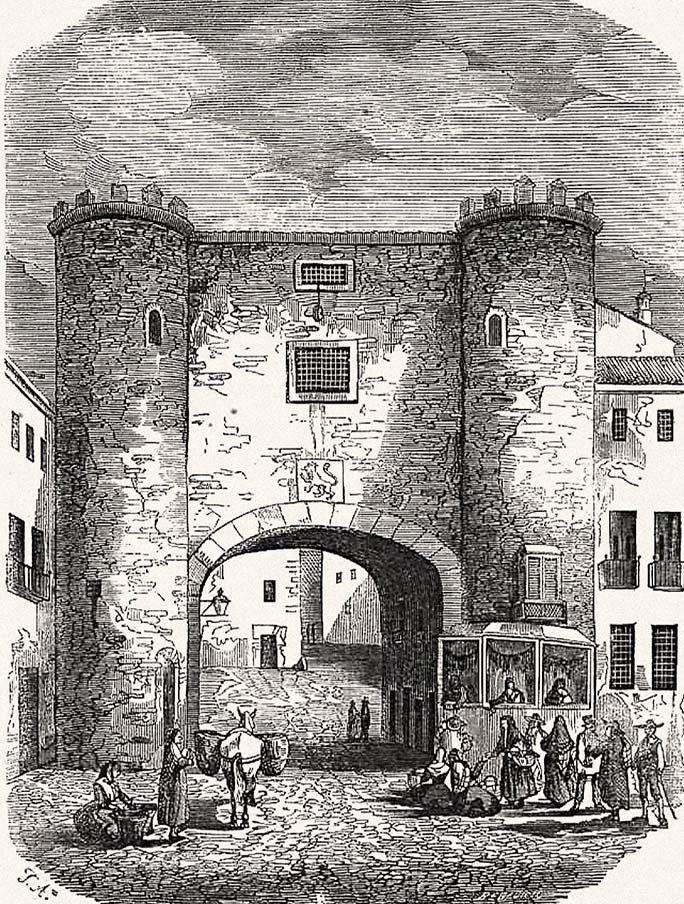 Puerta de Toledo de Zaragoza se derribó en el año 1842 por la mala conservación Se encontraba entre la Plaza del Justicia y el Mercado Central, al final de la calle Mayor, mirando al Oeste o a la salida de la ciudad romana pero que en aquel principio del si