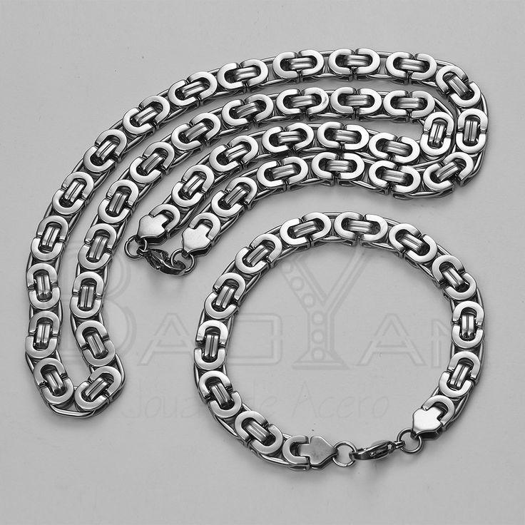 plateadas joyas de acero inoxidable cadenas y pulseras juegos para hombre