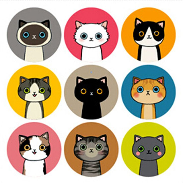 Картинки цветные для распечатки коты