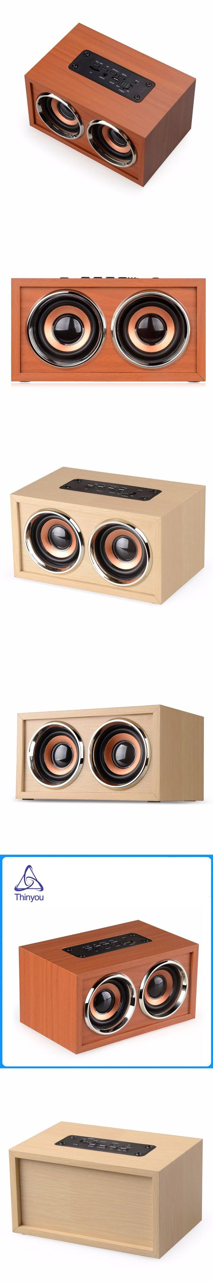 Thinyou Wood Wireless Bluetooth Speaker Portable Computer Speakers 3D Loudspeakers for TV Home Theatre Sound Bar AUX