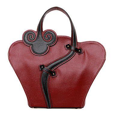 Femme+Polyuréthane+Formel+/+Décontracté+/+Bureau+&+Travail+/+Shopping+Sac+à+Bandoulière+/+Cabas+Rouge+/+Noir+–+EUR+€+27.43