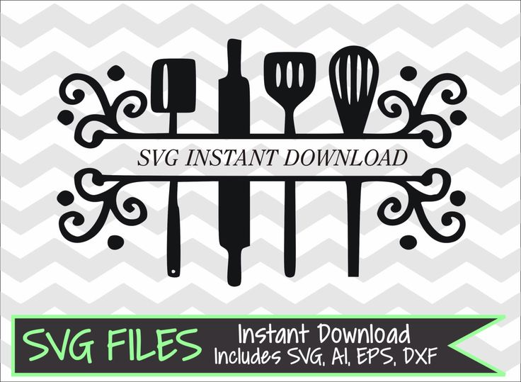 split kitchen utensils svg dxf eps ai cutting file for silhouette cameo or cricut instant