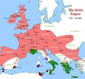 Celtic Empire 700-100 BC -- This map does show the great extent to which Celtic culture had spread across Europe prior to the rise of Rome, but it misrepresents the implied power by calling it an empire. The Celts were never united into a single empire, but divided into hundreds of tribal clans of varying size and power. Had they ever effectively united, Rome may have had a much more difficult road to conquest.