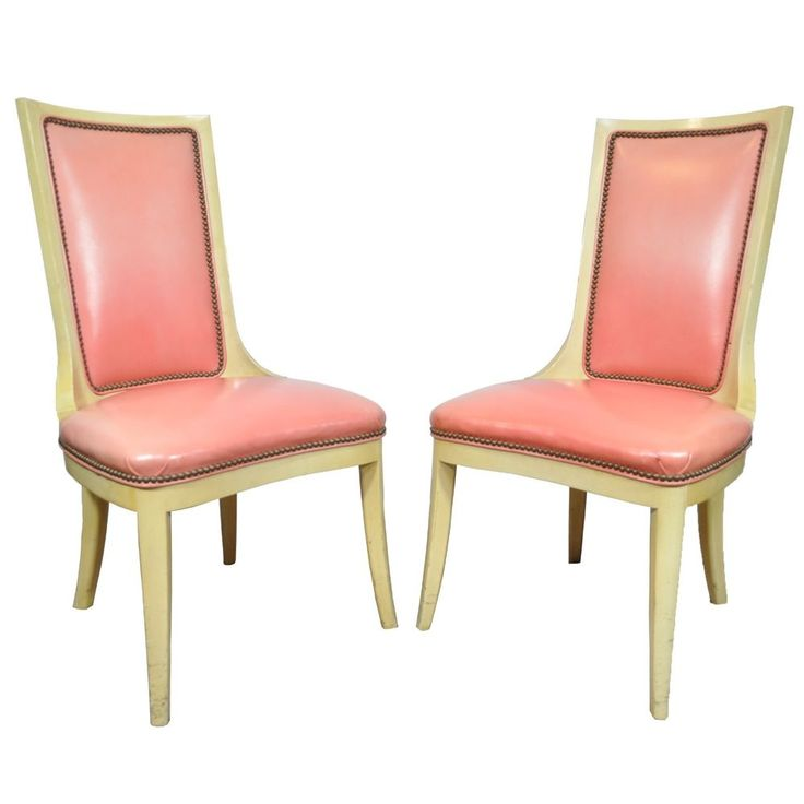 Pair Vtg Hollywood Regency Dorothy Draper Style Pink Leather Painted Side  Chairs. Hollywood RegencyVintage HollywoodFurniture ...