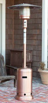 Copper Standard Patio Heater . $299.00. - Our Copper Finish Standard Patio Heater is the perfect way to extend your backyard entertaining season. This sturdy unit produces 40,000 BTUðs using a standard 20 lb. propane tank and has wheels for easy mobility. The copper finish perfectly accents and enhances your patio decor. This handsome CSA approved patio heater includes a tip over protection safety feature. - Features: - 40,000 BTUðs - Reliable Piezo igniter - S...