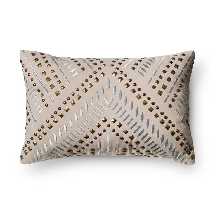 Gray Studded Metallic Throw Pillow - Xhilaration