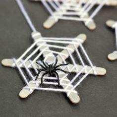 Cute Halloween spider web craft for kids.
