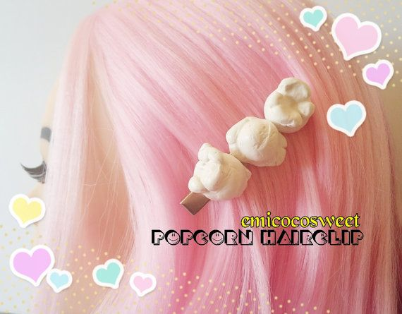 Popcorn Hair clipsPopcorn Food JewelryKitsch Fun by emicocosweet
