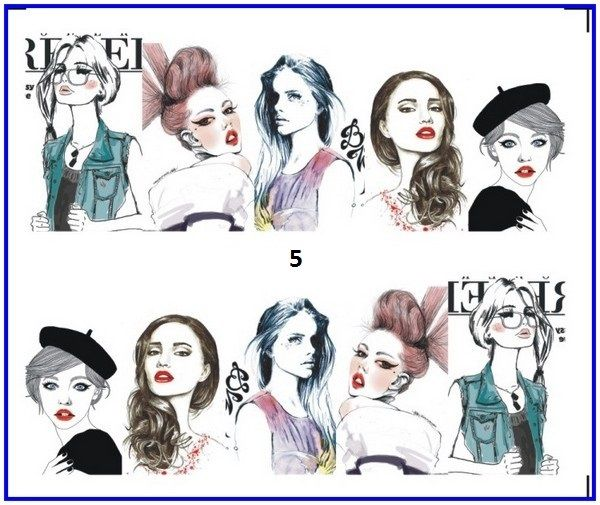 Nail Sticker Water Transfers Stickers Nail Decals SKETCH GIRL URBAN LADY  by MyPleasureShop, $2.24 USD