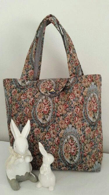 Floral tapestry Box Bag with grey lining, inner pocket and flap. Made by Vanilla Ruche