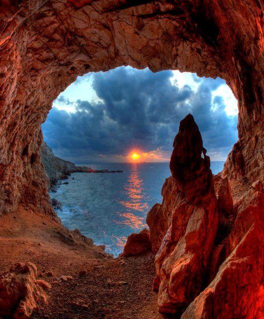 Arhilohos Cave at Agios Fokas, Paros Island (Cyclades), Greece