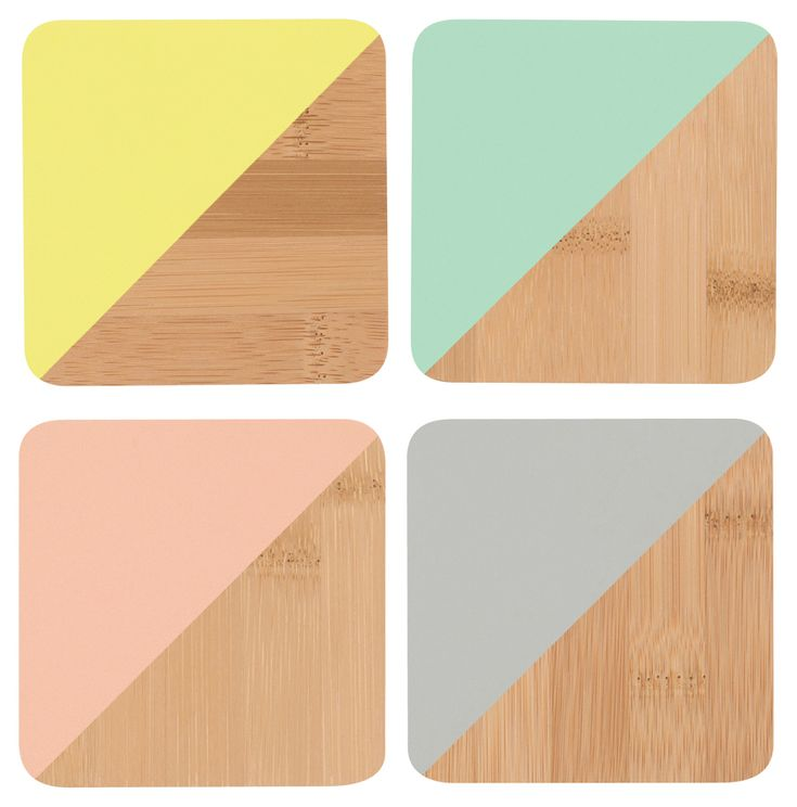 SOLD OUT Angle Bamboo Coasters - Multicolour Set of 4 | The Art of Home $18 | 2 Requested | 0 Purchased