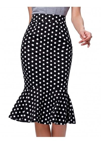 FALDA PIN UP DE TUBO SIRENA POLKA DOT
